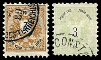 Lot 16722:1863 Arms Perf 9½ SG #14,15 2s & 3s, questionable datestamps, Cat £274 if genuine cancels.