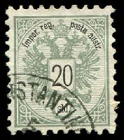 Lot 16725:1863 Arms Perf 9½ SG #18 20s greenish grey, odd shortish perf, Cat £13.