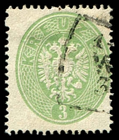 Lot 3107:1863 Arms Perf 14 SG #40 3k green, Cat £120.