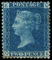 Lot 4049:1858-79 2d Blue Plates 13 SG #46 [QE] with Prominent white areas around the words of value, few toned perfs, Cat £375.