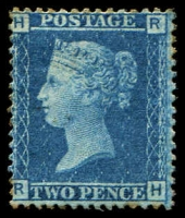Lot 3847:1858-79 Letters in All Four Corners SG #45 2d Blue Plates 9 [RH], few toned perfs, Cat £350.