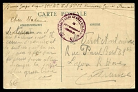 Lot 3618 [1 of 2]:1910s use of stampless PPC of 'KOUROUSSA (Haute-Guinea francaise) - Un Sentier' from a sergeant in the 3rd battalion based at Kouroussa.