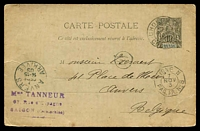 Lot 21746 [1 of 2]:1903 use of 10c Postal Card, cancelled with 'COLON/?|5/NOV/03/COCHINCHINA' (A1-) to Belgium, fine octagonal 'LIGNE N/7/NOV/3/PAQ.FR.NO8' on face.