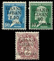 Lot 22428:1924 'GRAND LIBAN' Surcharges SG #1,3,9 10c, 50c & 2p50.