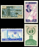 Lot 22436 [1 of 2]:1961 Chehab & Map and UN Anniversary SG #679-85 set of 4 air issues (MH) and set of 3 (MUH), Cat £12.