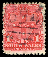 Lot 6174:1394: BN on 1d Arms. [Rated SS]  Allocated to Monica Vale-PO 25/12/1887; renamed Koorawatha PO 1/12/1888; closed 22/8/1997.