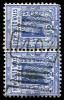 Lot 5548:1407: BN on 2d blue pair.  Allocated to Woodstock-PO 13/2/1888.