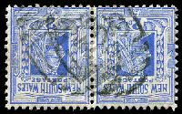 Lot 5587:1729: 6mm 2nd type BN on 2d blue Jubilee pair.  Allocated to Wyalong-PO 22/6/1894.
