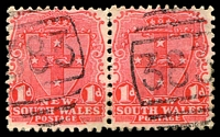 Lot 5359:383: BN on 1d Arms pair. [Rated SS]  Allocated to Dalton-PO 1/5/1863.