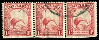 Lot 4170:1936 1d Kiwi Die I SG #557b P13½x14 strip of 3, all perfs trimmed at base, Cat £180.