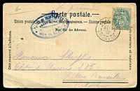 Lot 70 [2 of 3]:France: real-photo PPC of 'Traversée de la Mer de Glace et Hôtel du Montanvert' with blue handstamp 'HOTEL DU MONTANVERT/.../MER de GLACE' on face, cancelled at Chamonix.