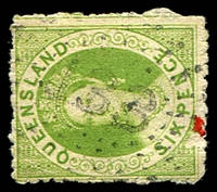 Lot 6885:133: rays (N2a - rounded '3's), on 6d green Chalon (small faults). [Rated 2R]  Allocated to Myall Creek-PO 1/8/1854; renamed Dalby PO c.1855.