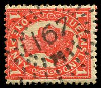 Lot 1528:167: rays on 1d 4-Corners. [Rated 2R]  Allocated to Yengarie-PO 1/7/1872; RO c.1900; PO 1/7/1927; closed 30/6/1976.