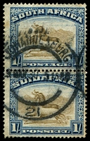 Lot 4571:1930-45 Pictorials SG #48 1/- brown & deep blue vertical pair, minor tonespots, Cat £60.