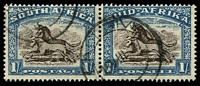 Lot 4167:1933-48 Pictorials, Rotogravure, Hyphenated SG #62 1/- Wildebeest horizontal pair, Cat £18.