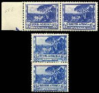 Lot 4164:1947-54 Centre Screened Rotogravure SG #117,117a 3d blue vertical pair & 3d dull blue horizontal pair.