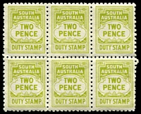 Lot 1755:1960 Stamp Duty Perf 10½x10: 2d olive-green irregular block of 6, well-centred & MUH.