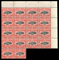 Lot 4488:1942-45 Pictorials Wmk Script/CA SG #75 1d black & scarlet Line P14 block of 18, Cat £45++, quite a few light tone spots.