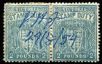 Lot 9842:Stamp Duty: 1957 £2 Cobalt-Blue P11 pair, Cat #3.99 1959 pen cancel.