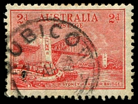 Lot 2923:Rubicon: - WWW #10 'RUBICON/?AP32/[VIC]' on 2d Bridge.  RO 1/7/1926; PO c.1927; closed 16/6/1964.