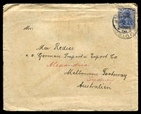Lot 17642 [2 of 2]:English Mail T.P.O.: 'ENG.MAIL.T.P.O./IN-17NO13/VIC' backstamp on cover from Germany, mild toning and other small faults.