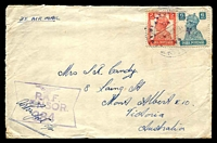 Lot 5505:1945 India 2a & 6a on air cover from F/Sgt L Candy, serving with the RAF in India, to Melbourne.
