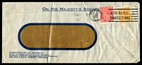 Lot 1114:1934 (May 1) use of ½d orange & 1½d red KGV both perf 'OS' on OHMS window envelope from Federal Deputy Commissioner of Taxation, Hobart.