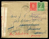 Lot 4618:1940 use of 1d & 2d on cover from Perth to USA, violet boxed 'PASSED BY/CENSOR 3' on face and 'OPENED BY/CENSOR' label at left, damage on back.