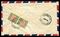 "Lot 814 [2 of 2]:1958 (May 19) air cover from Bondi Junction to Nambour with 4d QEII, boxed tax handstamp for ""6d"" (missing 3d airmail component) on face, 3d Pdue pair on back."