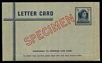 Lot 667:1959-65 5d Dark Blue QEII BW #L84w 1960 5d blue, cream within, diagonal 'SPECIMEN' in red, unused.