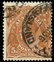 Lot 721:5d Orange-Brown Die II - [3L35] White flaw on emu's back near tail, etc