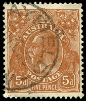 Lot 307:5d Orange-Brown Die II - BW #127(3)e [3L5] 1st state before scratch behind King's neck develops.