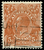 Lot 719:5d Orange-Brown Die II - [3L13] Break near bottom end of 4th shading line in King's neck etc