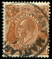 Lot 305:5d Orange-Brown Die II - [3L16] 4th shading line down broken near left wattle leaf etc