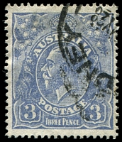 Lot 795:3d Blue Die Ia - [3,4L47] White flaw between roo's ear and A, etc