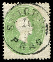 Lot 3569:1860-61 Franz Joseph Perf 14 SG #34 3k green, Cat £38, cancelled with 22½mm 'SMICHOW/16/9/PRAG' (B1).