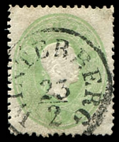 Lot 3228:1860-61 Franz Joseph Perf 14 SG #34 3k green thin paper, few trimmed perfs, Cat £38, cancelled with 22½mm 'WINTERBERG/23/2' (A2).