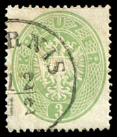 Lot 3662:1863 Arms Perf 14 SG #40 3k green, Cat £120.