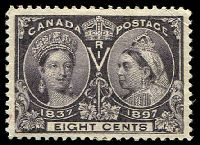 Lot 3315:1897 Jubilee Issue SG #130 8c slate-violet, small corner crease, Cat £48.