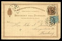 Lot 3889:1883 use of 6 ore brown Postal Card uprated with 4 ore, from Aalborg to Hamburg.