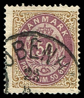 Lot 3394:1875-1901 Perf 14x13½ SG #76 50ö brown-purple & brown, Cat £32.