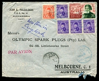 Lot 3410:1948 (Dec 3) use of 10m Ibrahim Pasha & Farouk 2m & 10m x4 on air cover from Alexandria to Melbourne, minor faults.