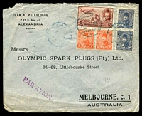 Lot 4004:1948 (Feb 14) use of 5m Air & Farouk 2m x2 & 20m x2 on air cover from Alexandria to Melbourne, minor faults.