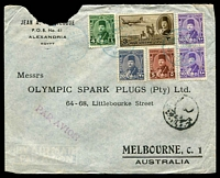 Lot 4005:1948 (Aug 2) use of 3m Air & Farouk 4m, 5m, 10m x2 & 20m on air cover from Alexandria to Melbourne, minor faults.