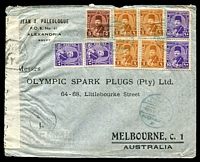 Lot 3900:1948 (Aug 1) use of Farouk 1m x4, 5m & 10m x4 on air cover from Alexandria to Melbourne, censor? reseal at left.