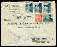 Lot 3431:1948 (Aug 21) use of 2m Farouk 50m Farouk & Citadel x4 on registered air cover from Alexandria to Melbourne, minor faults.
