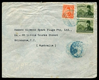 Lot 3698:1949: (Feb 16) use of 2m Farouk, 30m Farouk & Pyramids pair on air cover from Port Said to Melbourne, minor faults.