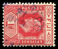 Lot 3945:Nausori: '[N]AUSORI.P.O./21/NOV/[?]/[FIJI]', Proud #D3, in blue 1d red KEVII.  PO c.1890.
