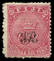 Lot 3424:1876-77 'VR' Underprint on Laid Paper SG #33 6d rose, Cat £55.