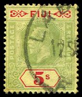 Lot 3428:1922-29 KGV Die II Wmk Multi Script CA SG #241 5/- red & green/yellow, Cat £85.